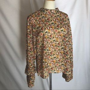 WHITE CLOSET Long Sleeve Mustard Floral Top Size14